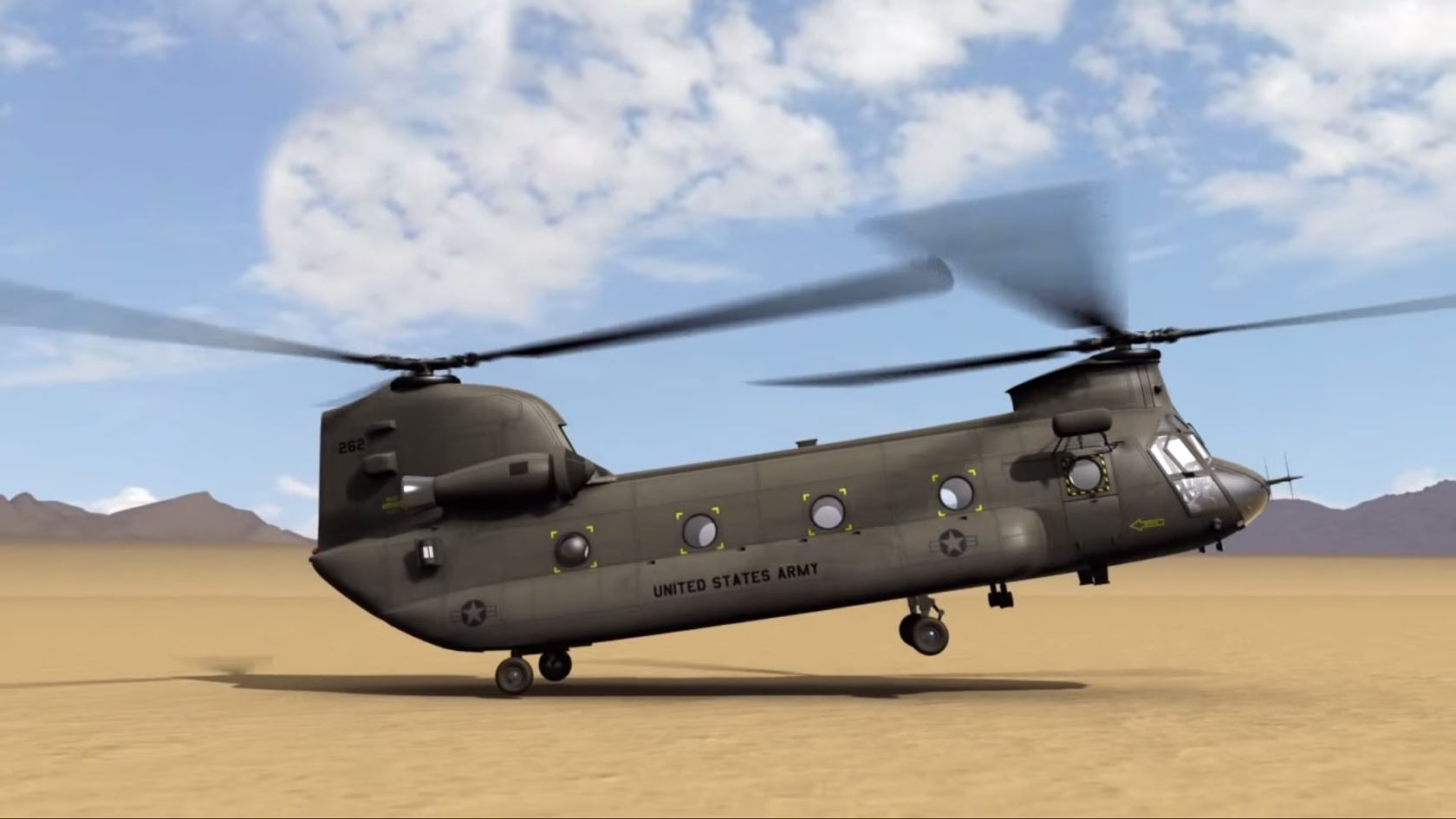 Frame Extracted From A 3D Animation Of A CH-47 Dual-rotor Helicopter.