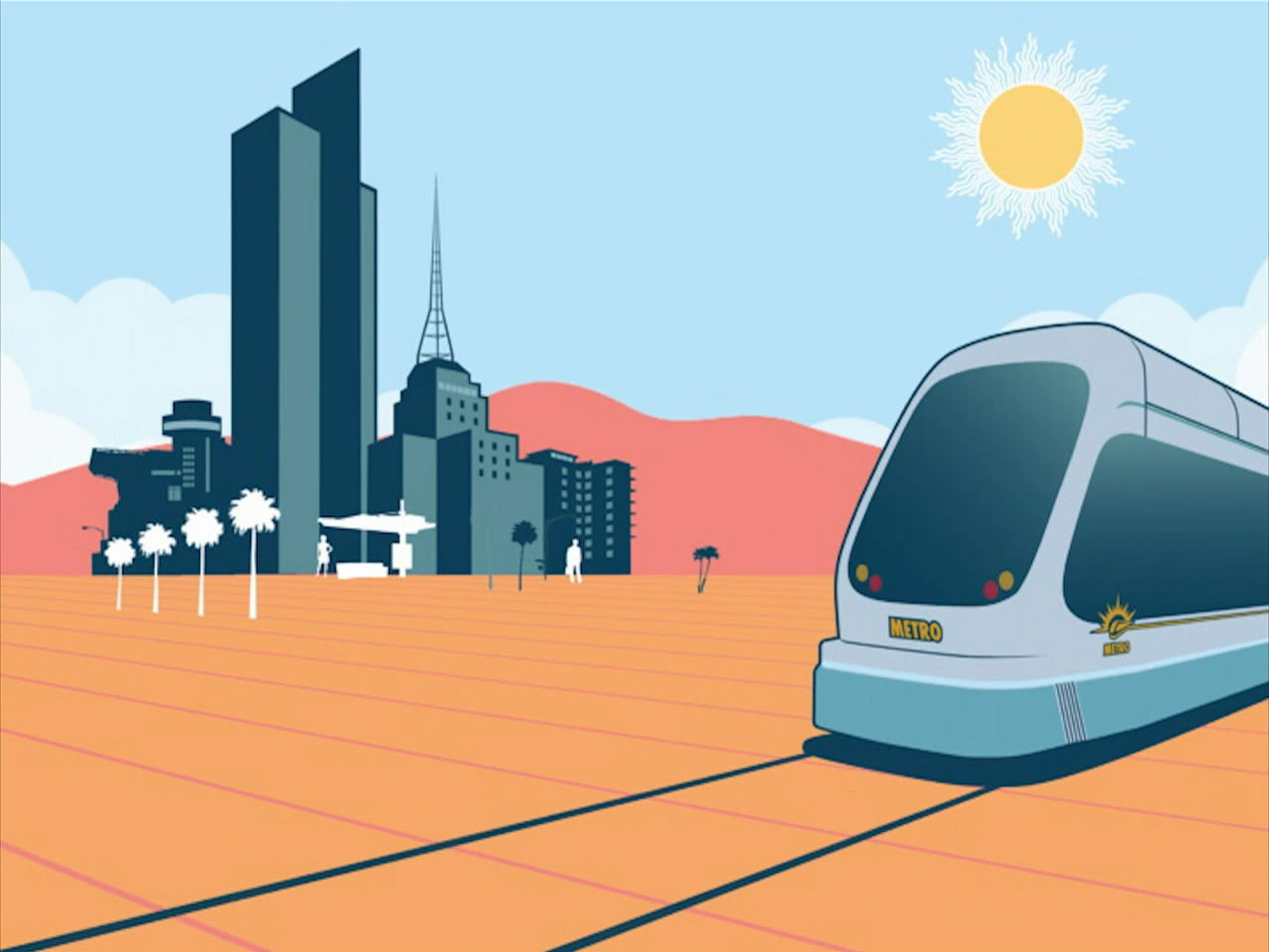 2D animation frame from the animation created for Park & Co. promoting the safe use of the new Valley Metro Light Rail system