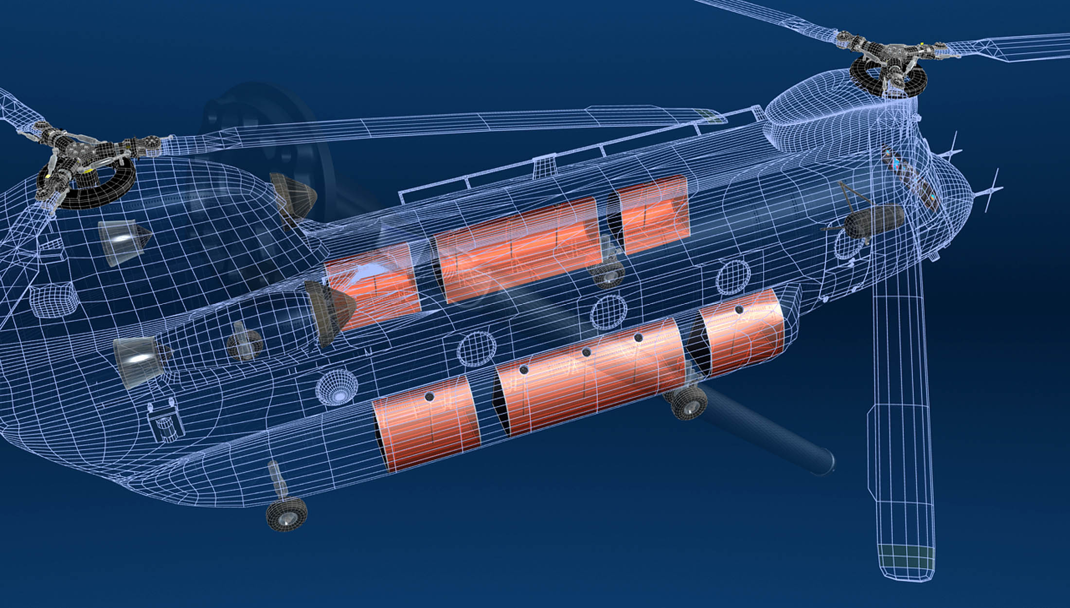 Wireframe image of a dual-rotor CH-47 revealing fuel tanks where fuel probes will be installed.