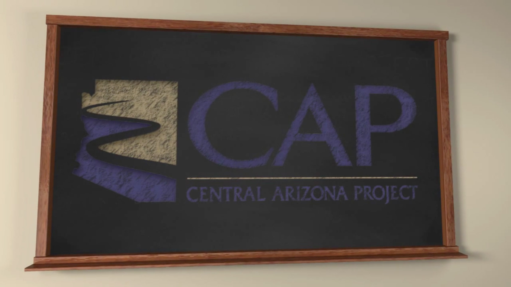 Central Arizona Project logo on 3D blackboard